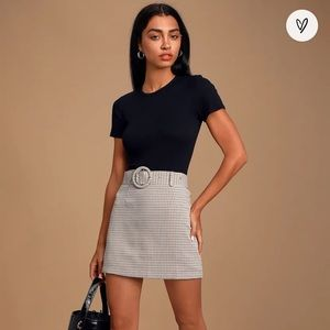 Tan Multi Plaid Belted Mini Skirt